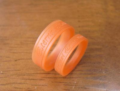 メッセージの入った結婚指輪のワックス