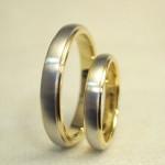 プラチナとゴールドの2色の結婚指輪(18K/Pt900)