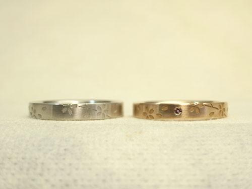 桜柄の結婚指輪の新品加工後01