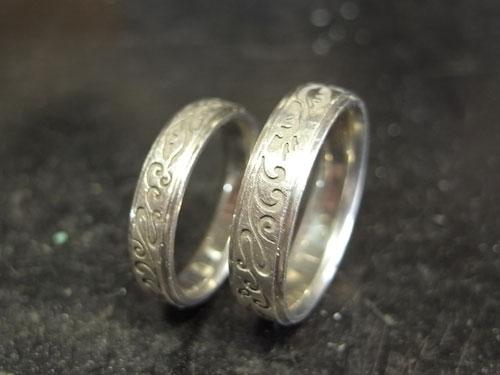 和風柄の結婚指輪のサイズ直しと新品仕上げ 01