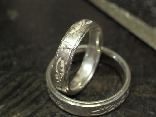 和風柄の結婚指輪のサイズ直しと新品仕上げ 04