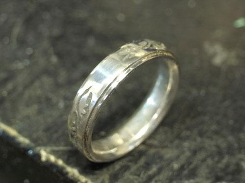 和風柄の結婚指輪のサイズ直しと新品仕上げ 05