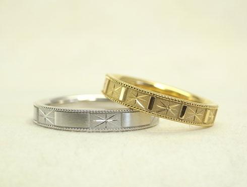 手彫り柄とミル打ちの個性的な結婚指輪