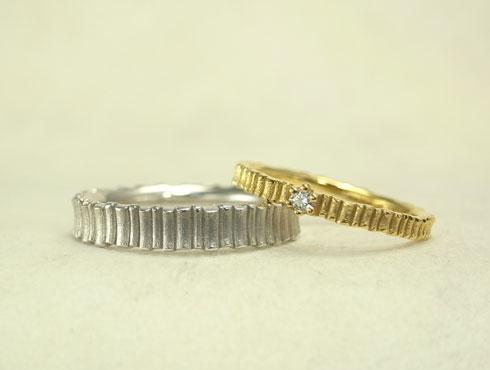 ダイヤ付き樹木柄の個性的な結婚指輪(細)