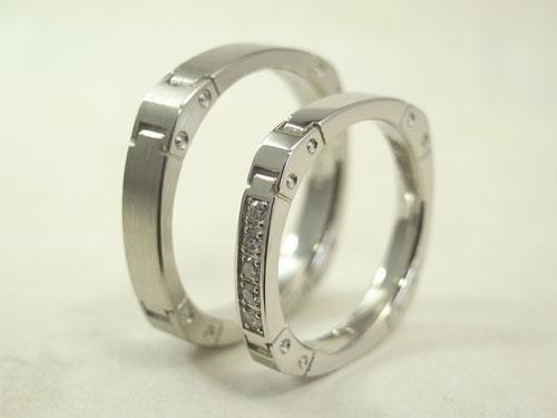 かっこいい結婚指輪 時計バンド風02