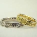 結婚指輪 セミオーダーで好きな柄を彫刻