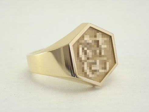 正面に漢字を彫った メンズリング 01