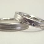 鍵の柄、メッセージが彫刻した結婚指輪