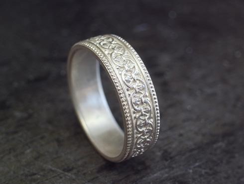 アンティーク調の結婚指輪のシルバーサンプル
