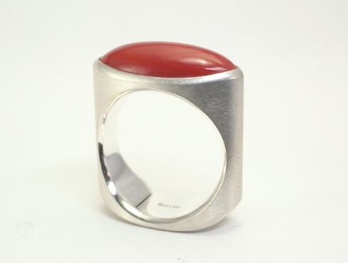 赤珊瑚のシルバーリング 01