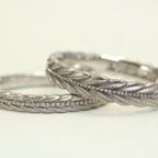 月桂樹 モチーフの結婚指輪 (リング幅を変更のアレンジ)