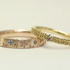 樹木と桜の結婚指輪