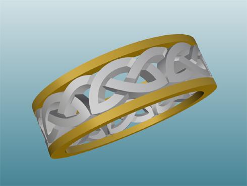 コンビのケルティックノット模様の指輪 CAD画像