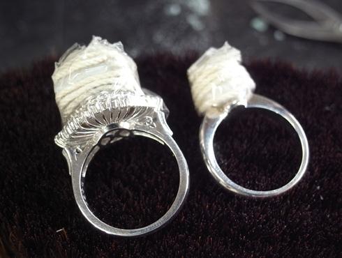 パール付きの指輪のサイズ直し 手順 01