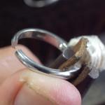 大きなパール付きの指輪のサイズ直し