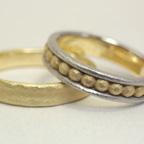 個性的な結婚指輪のアレンジ (3連風にアレンジ)