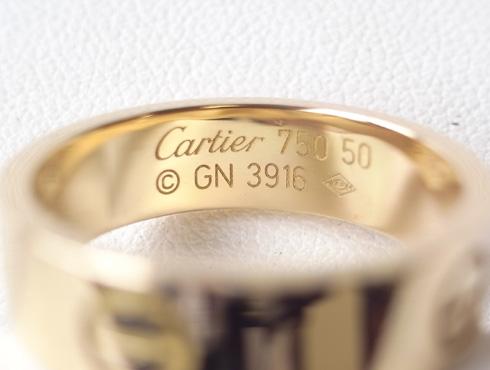 カルティエ ラブリング(ゴールド)サイズ直し 内側の刻印