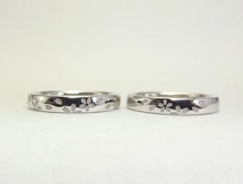 セミオーダーで製作の桜柄の結婚指輪 01