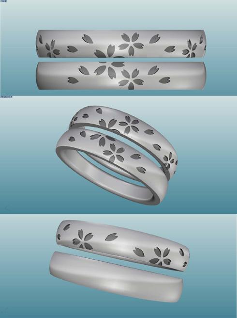 セミオーダーで製作の桜柄の結婚指輪 デザイン画 02