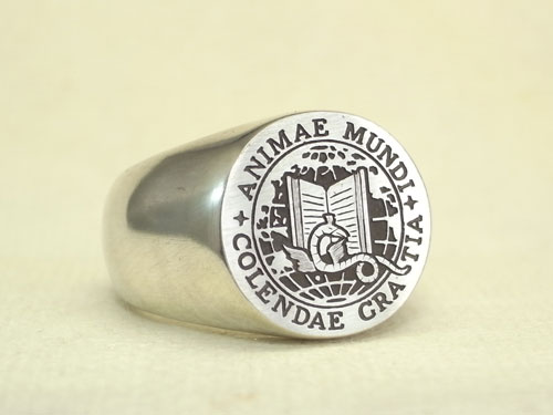 カレッジリング シルバー アメリカの大学の紋章を彫刻