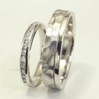 槌目風 ダイヤ付き結婚指輪