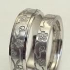 和風柄の結婚指輪(梅と千鳥)