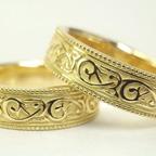 アンティーク調(唐草、ミル打ち)の結婚指輪