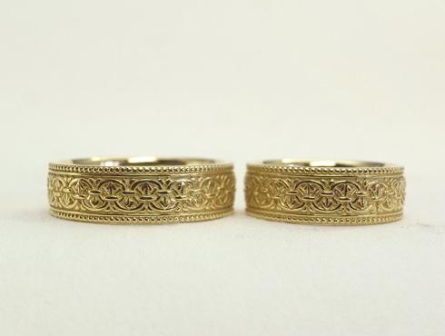 以前製作したアンティーク調の結婚指輪