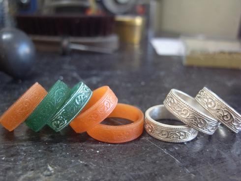 アンティークの指輪のシルバーサンプルたち