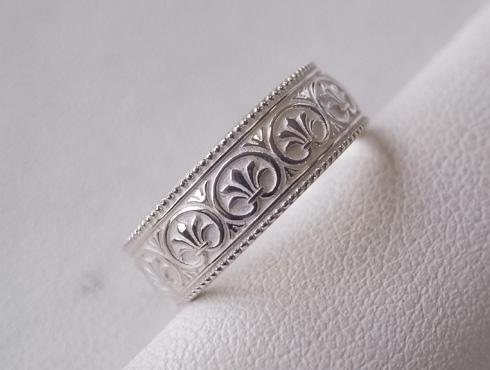 アンティーク柄の結婚指輪 シルバー