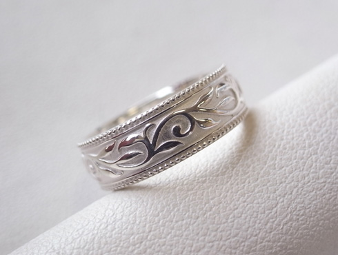 唐草模様の結婚指輪 シルバー