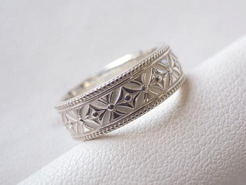 七宝柄の結婚指輪 シルバー