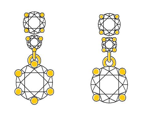 ダイヤ3個付きペンダント デザイン画