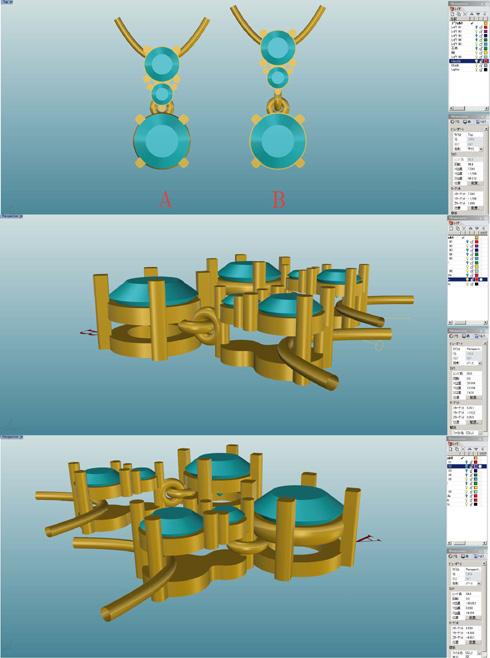 ダイヤ3個付きペンダント CAD画像