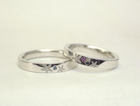 お花を彫刻した結婚指輪 セミオーダー