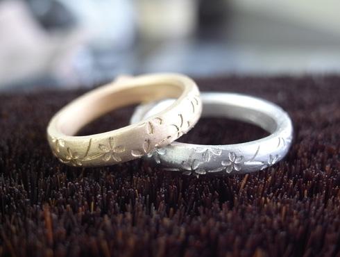 桜の結婚指輪の製作過程