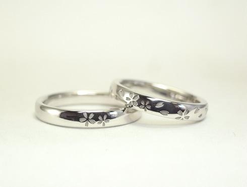 桜柄の結婚指輪
