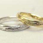 多肉植物を彫刻した結婚指輪(だるま秀麗)