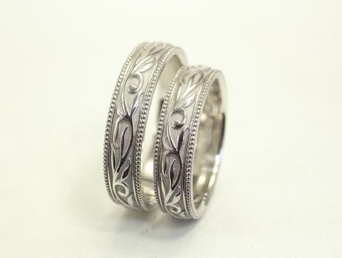 オリジナルの結婚指輪(唐草模様) 02