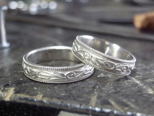 唐草(ツタ)の結婚指輪の製作過程 01