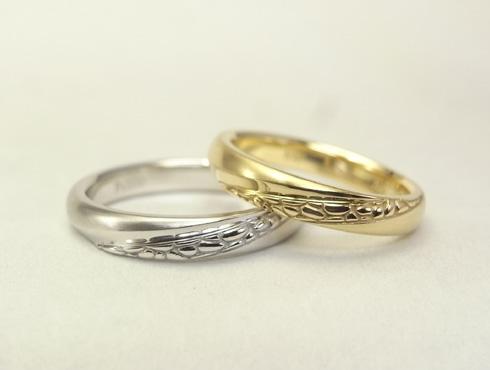 多肉植物を彫刻した結婚指輪 01