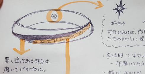 多肉植物を彫刻した結婚指輪 デザイン画 01