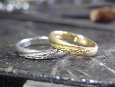 多肉植物を彫刻した結婚指輪 製作過程 01