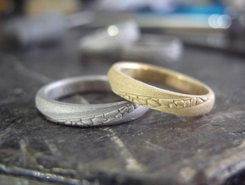 多肉植物を彫刻した結婚指輪 製作過程 02