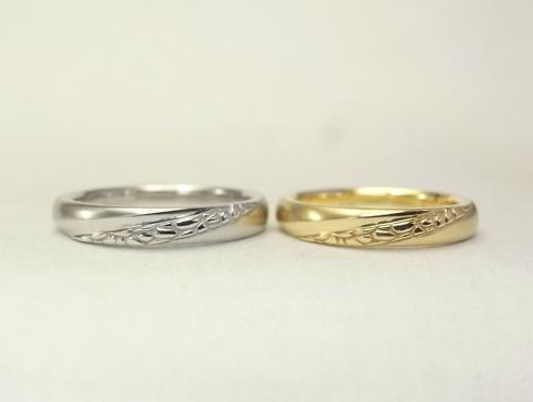 多肉植物を彫刻した結婚指輪 02