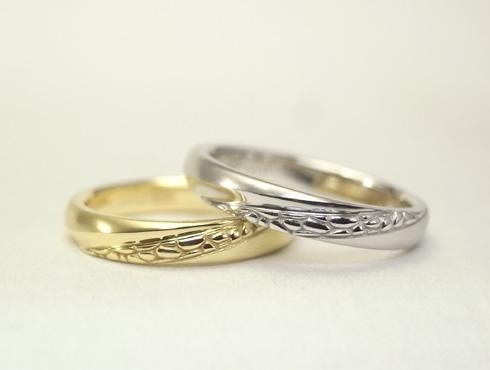 多肉植物を彫刻した結婚指輪 04