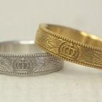 王冠(クラウン)と月桂樹柄の結婚指輪