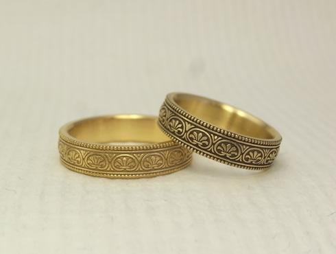 アンティーク風の結婚指輪(パルメット文様) 04