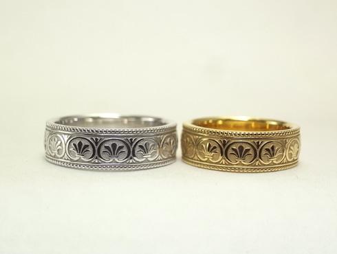 アンティーク風の結婚指輪(パルメット文様) 06