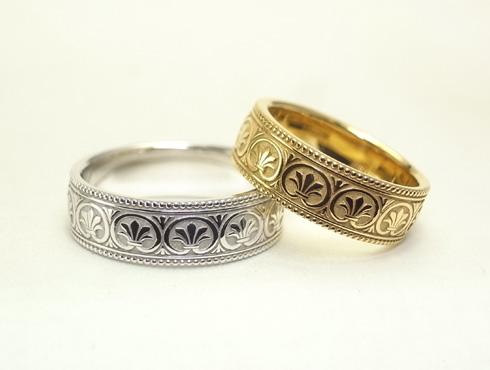アンティーク風の結婚指輪(パルメット文様) 07